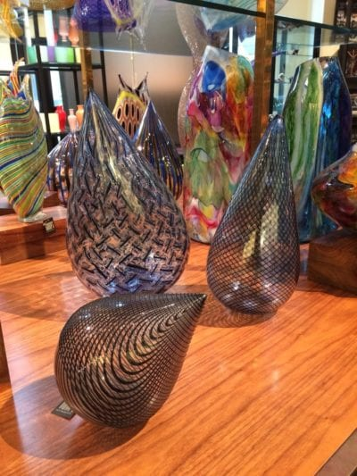 artisan glass objects in Gumps San Francisco