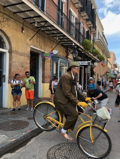 Man on bicycle, French Quarter
