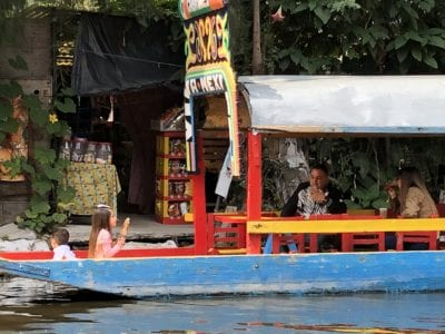 A trajinera at Xochimilco