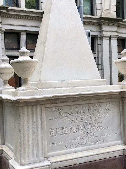 Alexander Hamilton's grave at Trinity Church in NYC